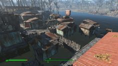 From top of garage Base Building, Building Concept, Fallout Mods, Fallout 4 Settlement Ideas, Fall Out 4, Game Ideas, Forts, Skyrim, Destruction