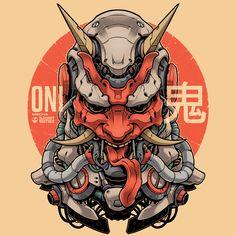 Oni Mecha - Japanese Demon in highly detailed art Japanese Artwork, Japanese Tattoo Art, Japanese Prints, Japanese Poster, Hannya Samurai, Samurai Tattoo, Mascara Oni, Hannya Maske, Hanya Tattoo