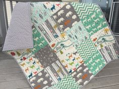 Woodland baby quilt, birch fabrics, feather river, woodland animals, deer, bears, camping, mint-pool-gray