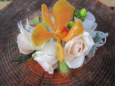 mom's wristlet, Mokara orchid, spray roses, green hypericum