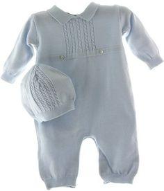 9cffbf3aa4f3 Baby Boys Blue Knit Long Sleeve Romper   Hat Set