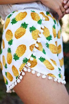 Yellow Pineapple Print Pom Pom Shorts