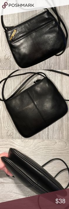 """Giani Bernini Crossbody Bag Vintage Black leather Giani Bernini Crossbody Bag with gold hardware. The bag has two main compartments, each with a zipper closure. One compartment includes a zipper pocket. The bag also has an exterior zipper pocket. Measurements 6 1/2""""(H) x 8 1/2""""(L) x 2""""(W). Bag is in mint condition! Giani Bernini Bags Crossbody Bags"""