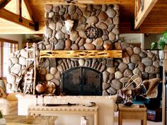 Morgan Creek River Rock Fireplace