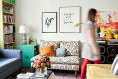I don't love everything in this room.  I think it is a little bit cluttered.  I do love the corner cabinet/side table and he art is pretty cool too.    Ideas for Decorating Apartments | Pictures of Apartments