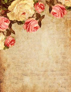 You Love the Roses... Victorian roses on an amber-colored, grungy background ~ printable paper