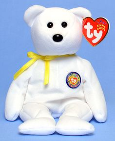 Color Me Beanie (yellow ribbon) - Bear - Ty Beanie Babies