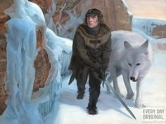 """Beyond the Wall by Steven Hughes  """"Kill the boy, Jon Snow. Winter is almost upon us. Kill the boy and let the man be born."""" — George R.R. Martin  Jon Snow and Ghost ranging beyond the wall. The landscape references my home near the black rocks of Michigan's Upper Peninsula, which become coated in ice from Lake Superior during the winter."""