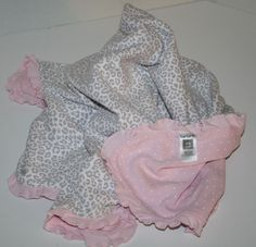 1fef7af0d Carters Leopard Cheetah Baby Girl Blanket Pink Ruffle White Polka Dots 33