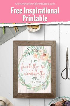 """Use this """"I am fearfully & wonderfully made"""" Psalm 139:14 free printable to remind yourself to be nice to YOU. It's so easy to be mean to ourselves. Get it today! #LatterDaySaint #FreeLDSprintables #LDSprintables #Ministering #MinisteringPrintables # Psalm 129, Psalm 139 14, Psalms, Lds Scriptures, Bible Verses, Lds Seminary, Fearfully Wonderfully Made, Service Ideas, Doctrine And Covenants"""