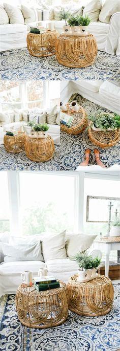 DIY Basket Coffee Table - Liz Marie Blog Living Room Modern, Home Living Room, Living Room Designs, Living Room Furniture, Living Room Decor, Small Living, Living Spaces, Apartment Furniture, Apartment Living