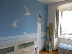 #Nautical is a cool twist for a #blue #nursery.