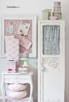 Love this gorgeous shabby vintage-y board desk and storage space
