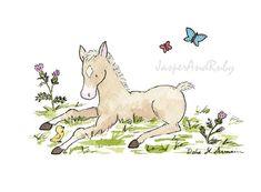 Pony Nursery Art Thistle the Foal  5X7 8x10 11x14 by JasperAndRuby