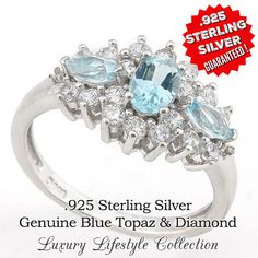 Solid .925 Sterling Silver 0.91.Ct Genuine Blue Topaz and Diamond Ring. Sizes 6, 7 , 8 SSIL8073. Starting at $1