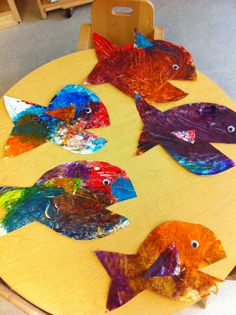 Finger painting turned into fish! this is for an Under the Sea theme at our school!