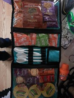 This is a really smart way to use the Timeless Beauty Bag. Travel snack caddy! Also makes a great traveling first aid kit.
