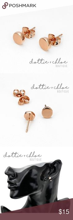 """Rose Gold Minimalist Round Earrings 18k Plated The perfect minimalist rose gold earrings!   Plated in 18k gold. Nickel, lead and cadmium free.   Size is approx. 0.24""""  ⭐️ No trades ⭐️ Price is firm unless bundled dottie + chloe Jewelry Earrings"""