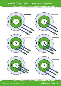 Hoeveel punten op ieder dartbord, kleuteridee.nl , rekenen met kleuters, how many points, free printable 2.