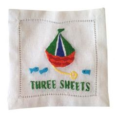 """""""Three Sheets"""" Sailboat Embroidered Cocktail Napkins : www.biscuit-home.com"""