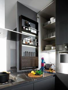 Contemporary dark kitchen details | Binova Kitchen Shelves, Kitchen Pantry, Kitchen Storage, Kitchen Cabinets, Kitchen Dinning Room, Kitchen Decor, Kitchen Ideas, Home Fix, Pantry Inspiration