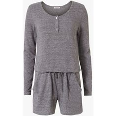 Nation LTD Women's Henley Romper (205 CAD) ❤ liked on Polyvore featuring jumpsuits, rompers, grey, nation ltd, long-sleeve romper, long sleeve romper, long-sleeve rompers and grey romper