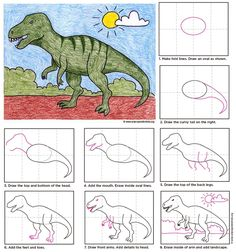 How to draw a T-Rex. PDF tutorial available. #TRex #howtodraw