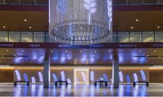 Eaton Experience Center. The LED curtain features messaging, abstract and natural landscapes, and data visualizations.