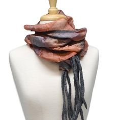 Buy Australian Merino Nuno Artisan scarf in a mix of Brown, Grey and Orange online. Unique and hand-crafted this beautiful art scarf keeps the cold at bay and add beautiful interest into an outfit. We ship across Australia and throughout the world. Nuno Felt Scarf, Felted Scarf, Orange Grey, Burnt Orange, Silk Art, Handmade Scarves, Lightweight Scarf, Nuno Felting, Silk Thread