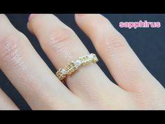 【ハンドメイド】丸小ビーズとパールで編むリングの作り方 -Super easy beading- How to make a ring with seed beads and pearls. - YouTube