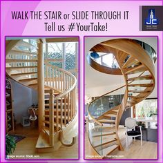 For any Duplex needs,  what is #YourTake? An original spiral staircase or the spiral staircase slide. Tell us!