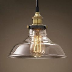 New Modern Vintage Industrial Retro Loft Glass Ceiling Lamp Shade - Kitchen pendant lighting ebay