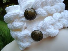 Womens Cabled Cowl White Chunky Neck Wrap Knitted by CherylsKnits, $40.00