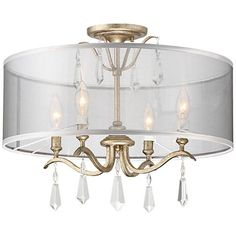 For contemporary glamour, the Minka Lavery Laurel Estate Semi Flush Mount - Brio Gold features a mesh drum shade that allows its candlestick sockets. Gold Ceiling Light, Low Ceiling Lighting, Semi Flush Lighting, Unique Lighting, Hall Lighting, Decorative Lighting, Ceiling Ideas, Bedroom Lighting, Mini Chandelier