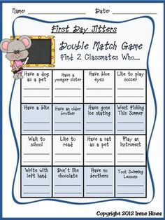 "Packet that correlates with the book ""First Day Jitters."" ~Class Discussion Questions & Ideas ~Vocabulary Words, Definition List, Practice, Graphic Organizers & Printables ~Making Connections ~Character Webs ~Reading Comprehension ~Writing Activities ~Double Match Games ~ABC Order Activities ~Venn Diagram ~Story Maps ~Word search ~Anchor Charts $"