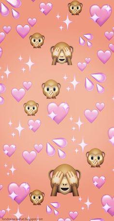 emoji wallpaper Wallpaper para Whatsapp con emoji de Monito y corazones fondos wallpaper emoji 636203884841781661 Wallpaper Sky, Emoji Wallpaper Iphone, Cute Emoji Wallpaper, Iphone Wallpaper Tumblr Aesthetic, Iphone Background Wallpaper, Cute Disney Wallpaper, Pretty Wallpapers, Funny Wallpapers, Phone Wallpapers
