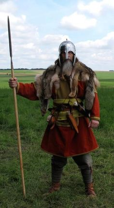 Wulfheodenas member in 8th century Anglo-Saxon battle clothes and gear.                                                                                                                                                                                 More
