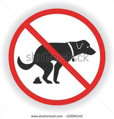 No dog poop sign. Shitting is not allowed. No poo poo. Vector stock illustration