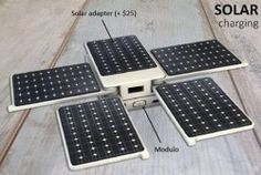 Portable, expandable battery system offers solar charging and manual crank