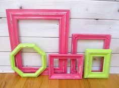 Frame Collection Pink Lime Green Vintage Ornate, Wedding Decor, Large Picture Frame Set, Baby Nursery Decor Shabby Chic on Etsy, $67.99