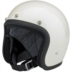 Biltwell Bonanza Helmet DOT Approved - Gloss Vintage White  This leaner, lighter and more comfortable DOT 3/4 lid boasts hand-painted finishes like our other lids. The interior boasts a custom-shaped EPS safety shell and a hand-stitched liner with moisture wicking brushed Lycra panels and open-cell foam padding for breathability and comfort. The rugged nylon neck strap features plated steel D-rings and a snap strap end retainer with Biltwell anvil branding. Available in six sizes, XS-XXL $99.95