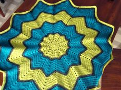 Crochet Star Ripple Baby Blanket Afghan Turquoise Lime Green Gray