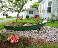 Old boat used as planter: http://www.completely-coastal.com/2014/06/outdoor-nautical-curb-appeal-ideas.html Great nautical curb appeal and yard idea!