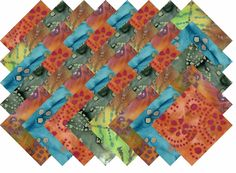 "BATIK VARIETY #25 COLLECTION 40 Precut 5"" QUILTING FABRIC SQUARES #MDG"