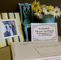 Memorial Guestbook - a unique guest book for funerals, memorials, and all remembrance events . . . Allow those who attend to share their memories, not just sign the names.  Prompt customer service too.
