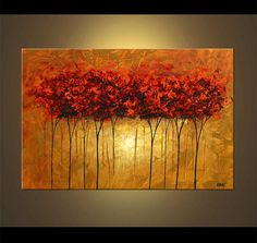 Landscape Red Blooming Trees Painting Original by OsnatFineArt