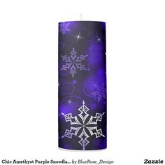 Chic Amethyst Purple Snowflake Motif Pillar Candle Flameless Candles, Pillar Candles, Custom Candles, Candle Set, Christmas Items, Christmas Card Holders, Hand Sanitizer, Keep It Cleaner, Holiday Cards