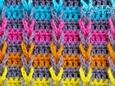 Learn how to make a diagonal basketweave stitch pattern. This is a crochet stitch in the Stitchorama by Naztazia collection. A DIY crochet project by Donna Wolfe from Naztazia. Crochet Waffle Stitch, Crochet Shell Stitch, Single Crochet Stitch, Tunisian Crochet, Crochet Yarn, Crochet Hooks, Crochet Granny, Hand Crochet, Crochet Stitches Patterns