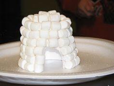 Making Merry Memories: Marshmallow Igloo Marshmallow Activities, Marshmallow Crafts, Preschool Crafts, Toddler Crafts, Kids Crafts, Crafts To Make, Igloo Craft, Un Igloo, Artic Animals