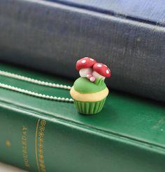 Mushroom Cupcake Pendant, Polymer Clay Kawaii Cupcake Necklace on Etsy, $15.00